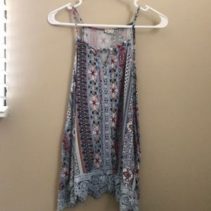 Blue multi-colored tank top Med